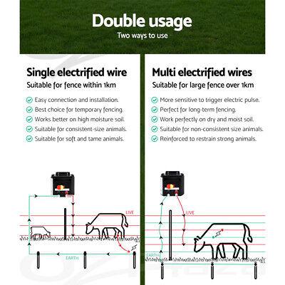 Giantz 3km Solar Electric Fence Energiser Energizer Charger 0.1J Farm Pet Animal 6