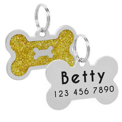 Glitter Bone Shape Personalized Dog Tags Engraved Pet ID Name Collar Tag Charm 6