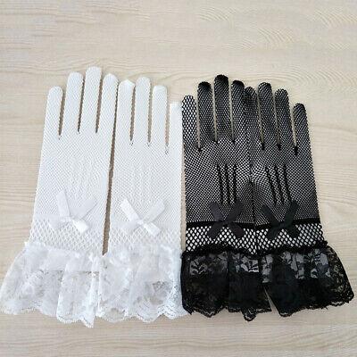 Ladies Fishnet Mesh Short Gloves Black Lace Bridal Evening Party Goth Burlesque 3