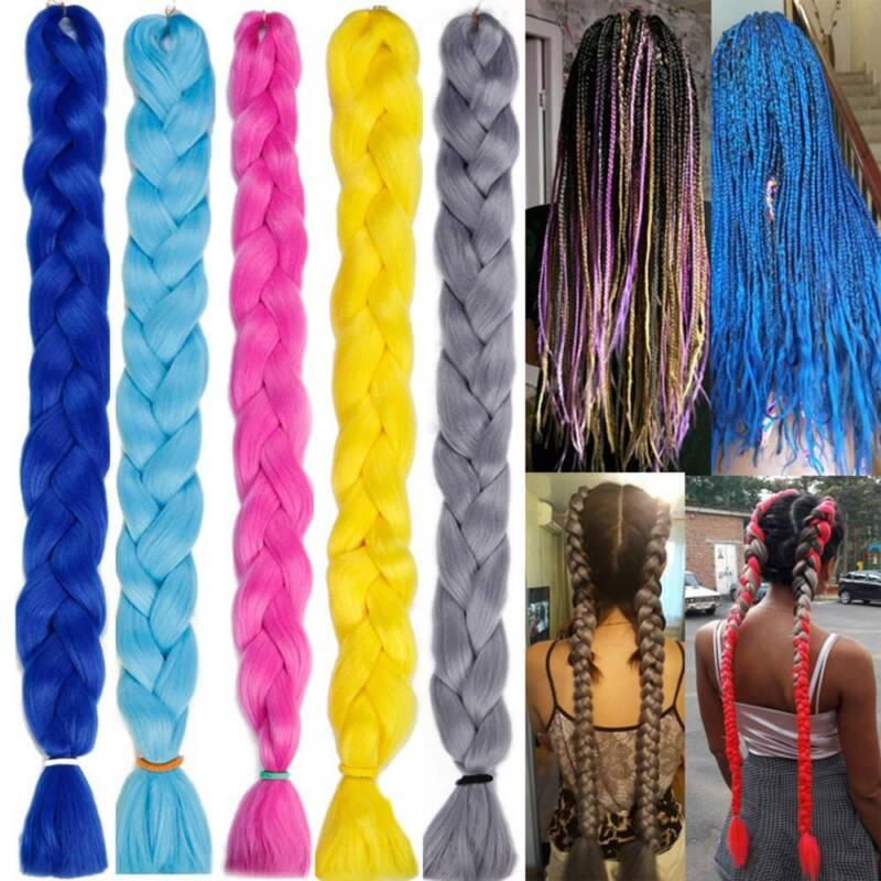 Colored 82'' Synthetic Kanekalon Jumbo Braiding Hair Extension Afro Twist Braids 2