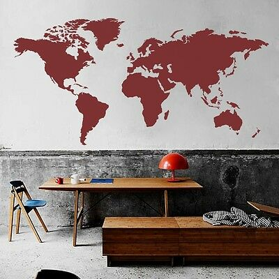 World map wall decal big global vinyl office inspiration room mural 2 of 9 world map wall decal big global vinyl office inspiration room mural decor large gumiabroncs Images