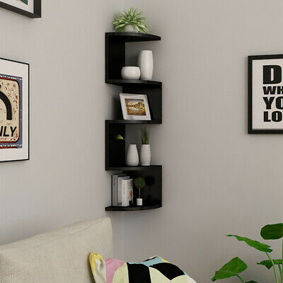 2/3/5 Tier Floating Wall Shelves Corner Shelf Storage Display Bookcase Bedroom 10