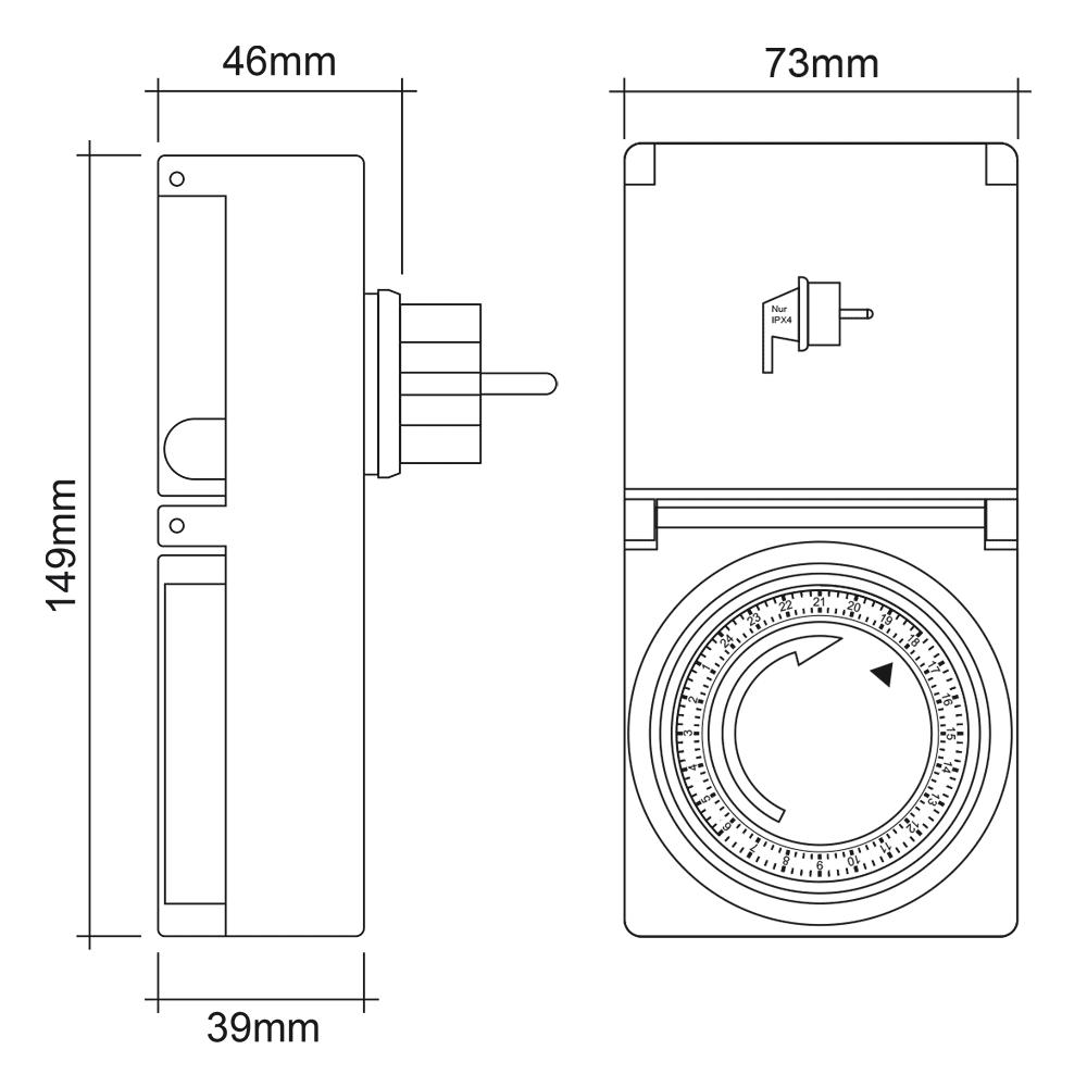 2x Zeitschaltuhr Außen IP44, analog, mechanisch, 24h Timer, für Steckdose SEBSON 6