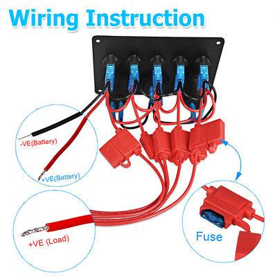 AU Switch Panel 12V USB ON-OFF Toggle 5 GANG Blue LED Rocker for Car Boat Marine 6