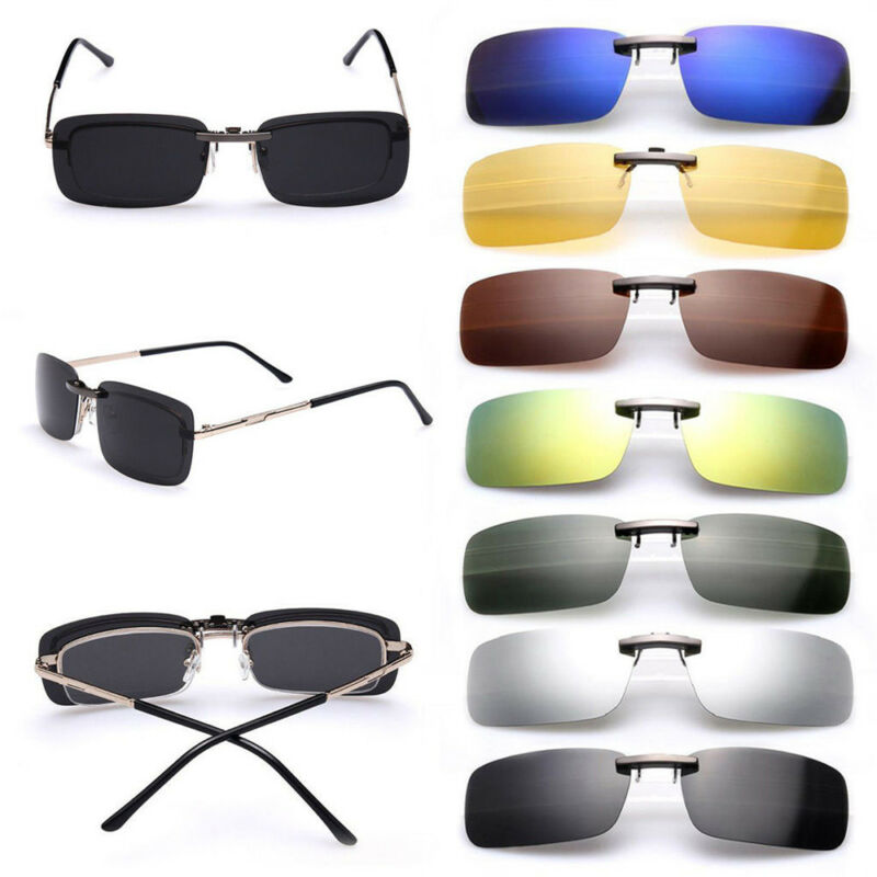7114b4ee068 UV400 Sunglasses Polarized Clip On Flip-up Driving Glasses Day Night Vision  Lens 2 2 of 5 ...