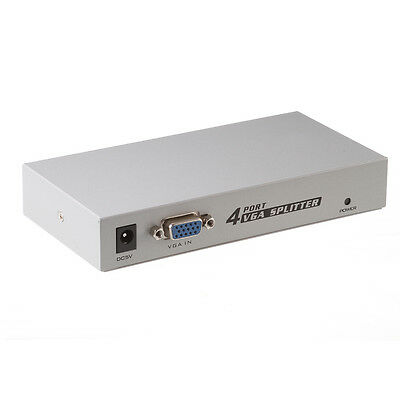 4 Port VGA SVGA Video HD Signal Amplifier Booster Splitter Sharing Box for PC EB