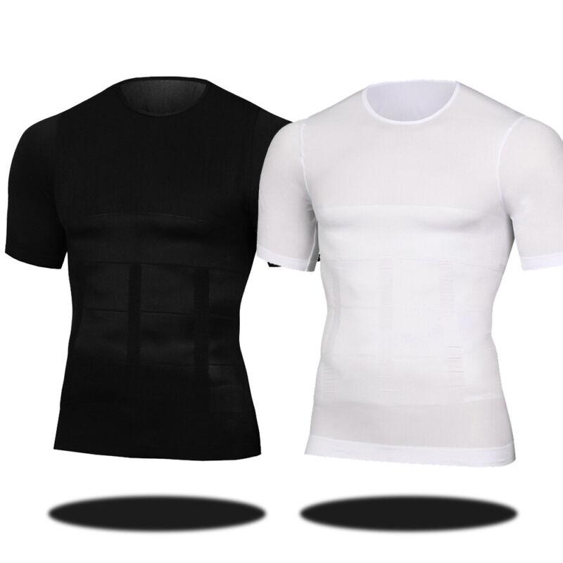 Men's Ultra Lift Body Slimming Seamless Body Shaper Vest Abdomen T-Shirt Cami 10
