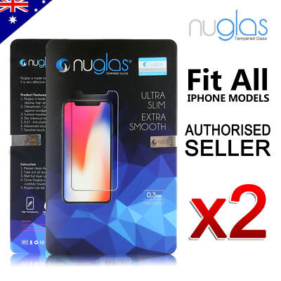 2x NUGLAS Tempered Glass Screen Protector Apple iPhone XS Max XR 8 7 6 6s Plus 5 4