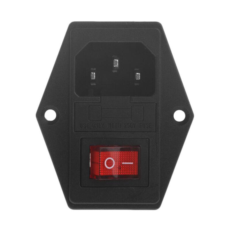 URBEST 10A 250V AC Rocker Switch 3 Pin IEC320 C14 Inlet Module Plug 5A Fuse 4
