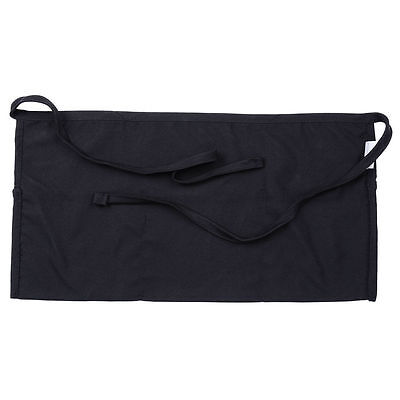 1 new heavy duty cocktail apron black 12x20 3 pockets tips server money pockets 2