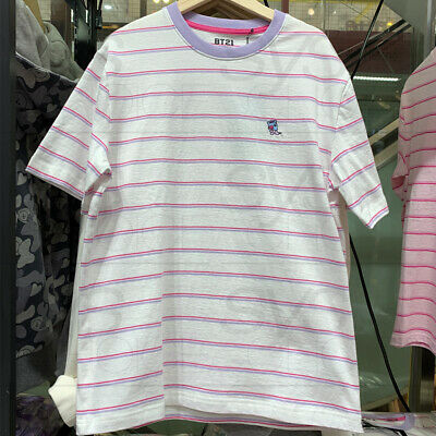 BTS BT21 Official Authentic Goods Striped Short Sleeve T-Shirt by Line Friends 5