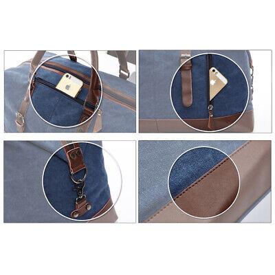 Vintage Men's Canvas Leather Travel Duffle Bag Shoulder Weekend Luggage Gym Tote 11