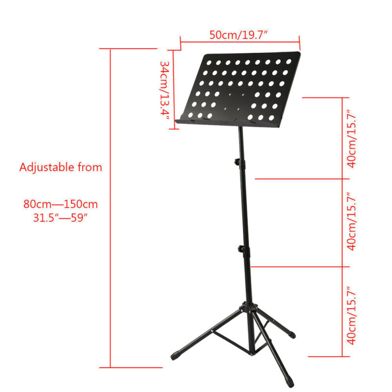 Heavy Duty Orchestral Sheet Music Conductor Stand Holder Tripod Base Foldable 7
