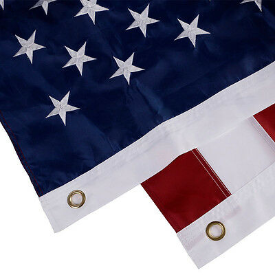 5'x8' FT American Flag USA US U.S. Sewn Stripes Embroidered Stars Brass Grommets 3
