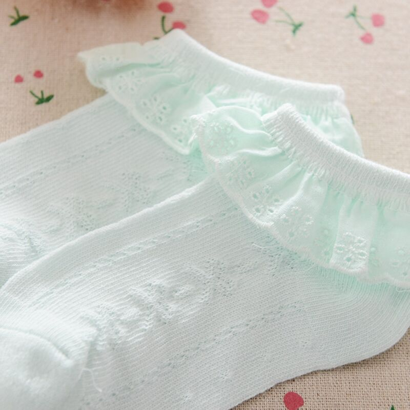 Cute Baby Lace Sock Girls Tiny Newborn Spanish Knitted Cotton Blend Ankle Socks