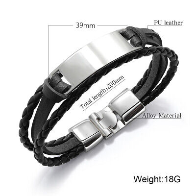 PERSONALISED Fathers Day Gift Mens Leather Bracelet Engraved ID Birthday Wedding 2