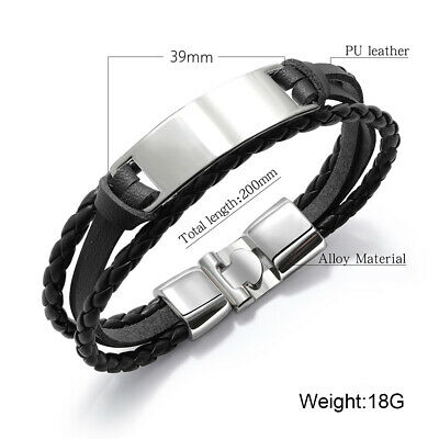 PERSONALISED Mens Leather Bracelet Engraved ID Birthday Wedding Graduation Gift 2