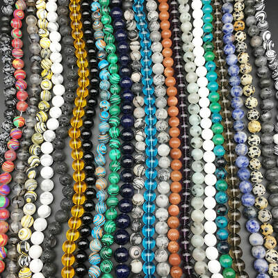 Natural Gemstone Round Spacer Beads 4mm 6mm 8mm 10mm 12mm Wholesale Assorted 4