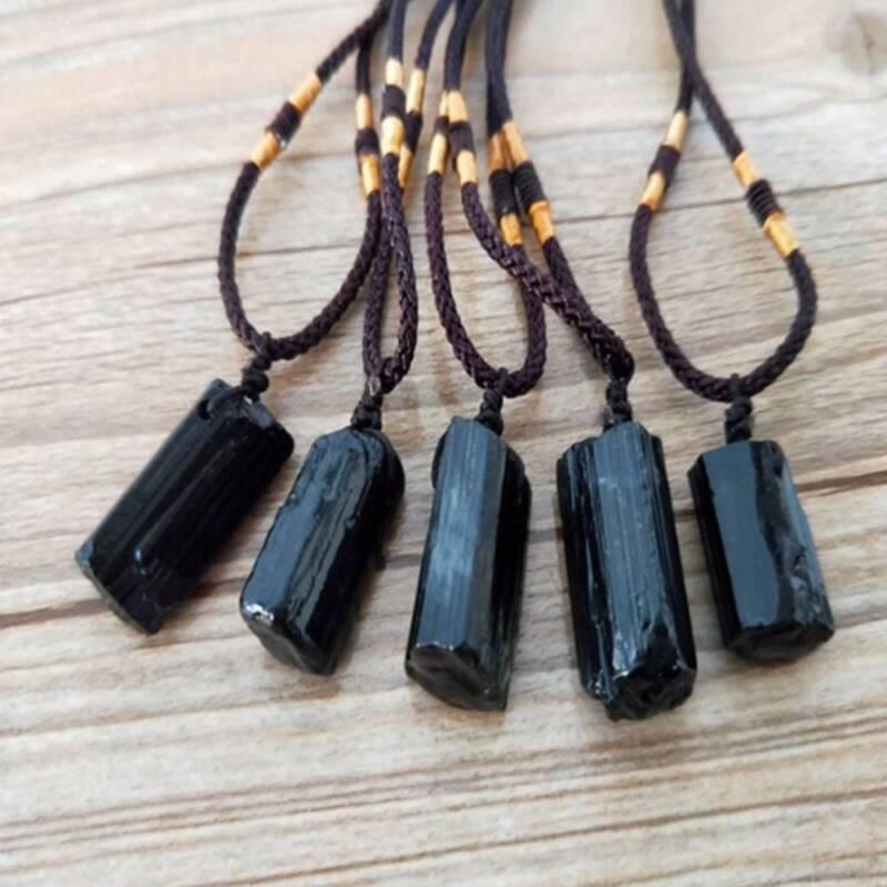 Men Black Tourmaline Stone Natural Crystal Gem Specimen Pendant Necklace JT 6