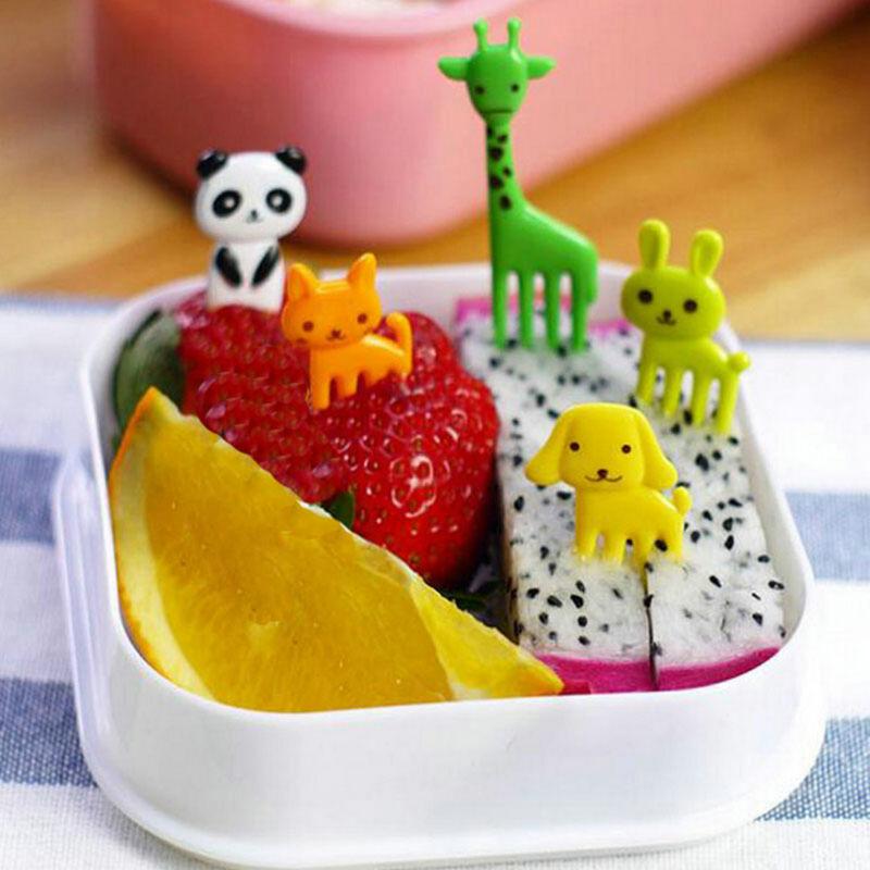 10Pcs Fruit Fork Animal Food Picks Forks Children Cartoon Bento Lunch Decoration 2