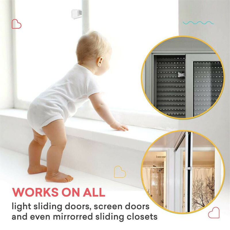 2Pcs Sliding Door Lock for Child Safety Baby Proof Doors & Closets Childproof 8