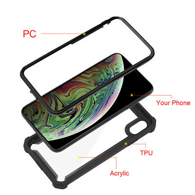 Hybrid Shockproof Heavy Duty Clear Case Fits In iPhone XS Max/XR/X/6/6s/7/8 Plus 2