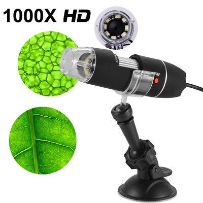 1000X 8 LED Zoom Digital USB Handheld Microscope PC Endoscope Camera Test Black 2