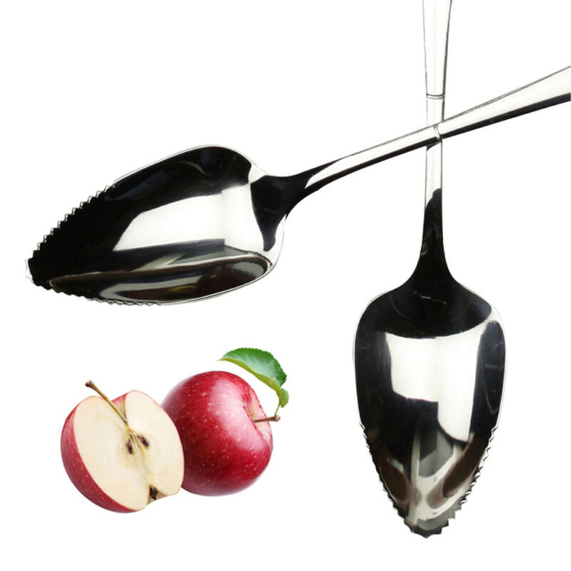 1Pc Fruit Grapefruit Seratted Spoon Long Handle Mirror Polishing Stainless Steel