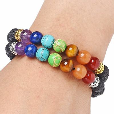 7 Chakra Yoga Natural Stone Beaded Cubic Tree Of Life&3D Charm Braided Bracelet 3