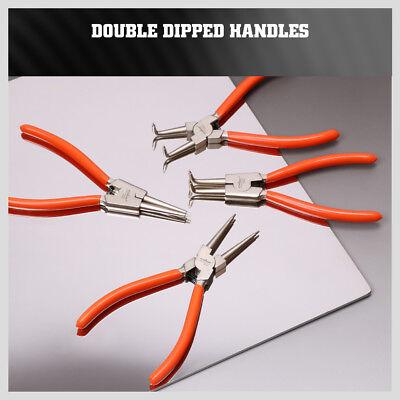 "4Pc 7"" Circlip  Pliers Set Internal External Bent Straight Snap Ring Remove Tool 5"