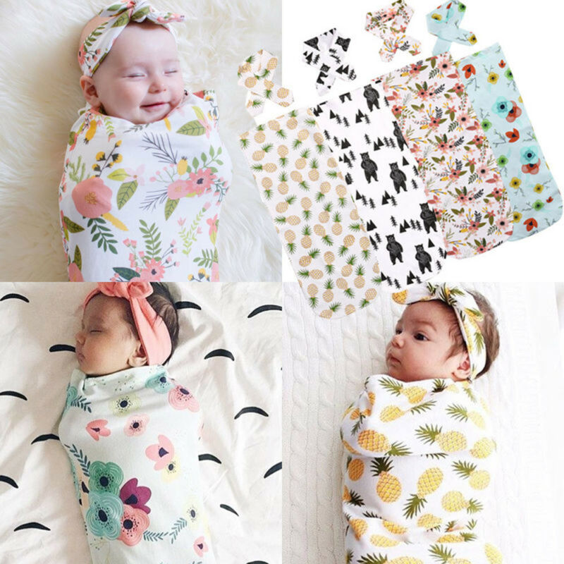 Newborn Baby Boy Cocoon Swaddle Blanket Sleeping Swaddle Muslin Wrap Hat Lovely 7