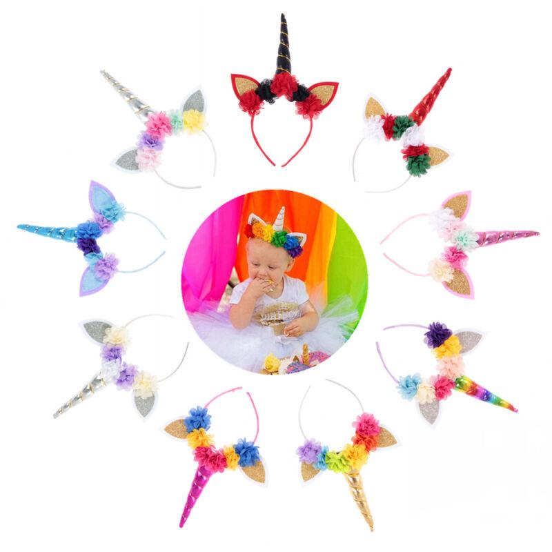 Hot Lovely Rainbow Unicorn Kids Toddler Girl Headband Birthday Party Accessories 2