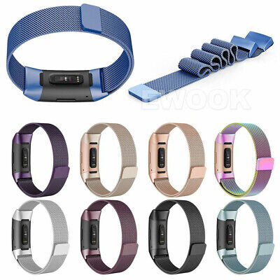 For Fitbit Charge 3 Band Metal Stainless Steel Milanese Loop Wristband Strap AU 10