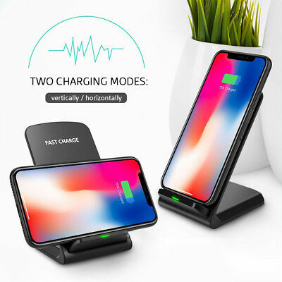 Qi Wireless Fast Charger Charging Pad Stand Dock For Galaxy S9+ iPhone X XS Max 6