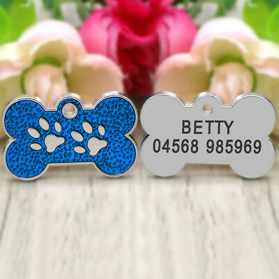 Glitter Paw Print Dog Tag Personalized Engraved Cat Pet ID Name Tag Bone Shape 9