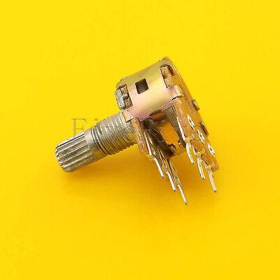 10 pcs B1K Ohm Dual Linear Rotary Potentiometer Pot 20mm Shaft 6 Pins