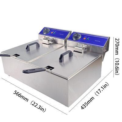 Professionnelle Double Friteuse Électrique En Acier Inoxydable Cuisine 🍗🍟 2