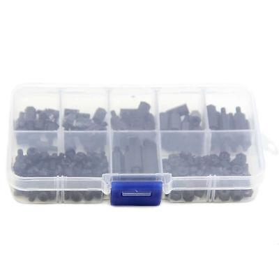 180Pcs M3 Nylon Black M-F Hex Spacers Screw Nut Assortment Kit Stand off Set Hot 4
