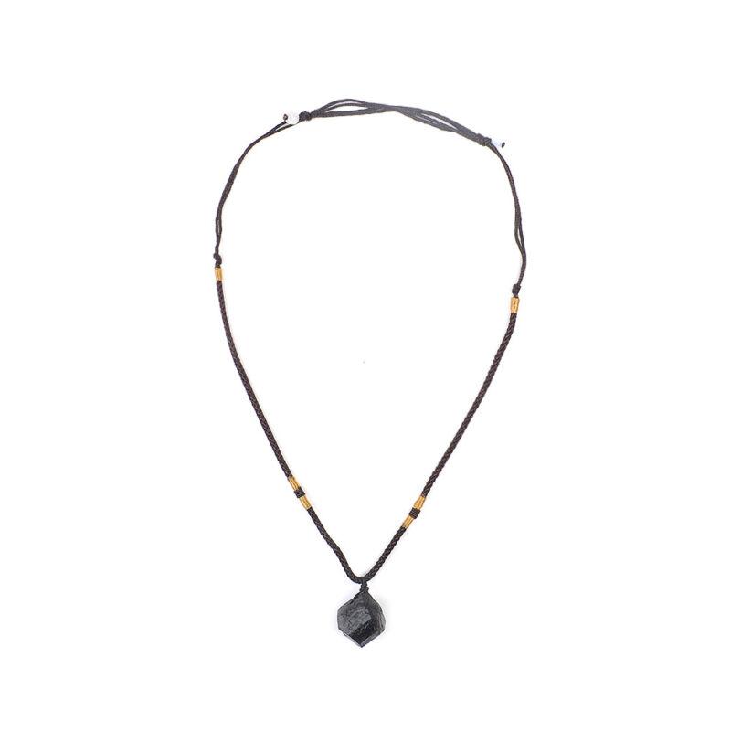 Men Black Tourmaline Stone Natural Crystal Gem Specimen Pendant Necklace JT 7