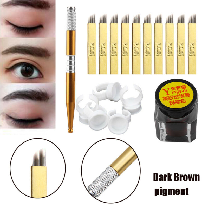 One Set Microblading Permanent 3D Makeup Eyebrow Tattoo Needle Pen Pigment Kit~ 4