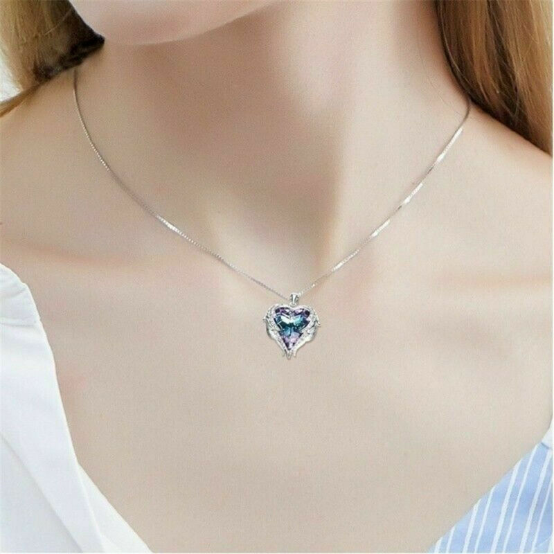 925 Silver Angel Wing Necklace Heart Rhinestone Crystal Chain Pendant Jewelry 9