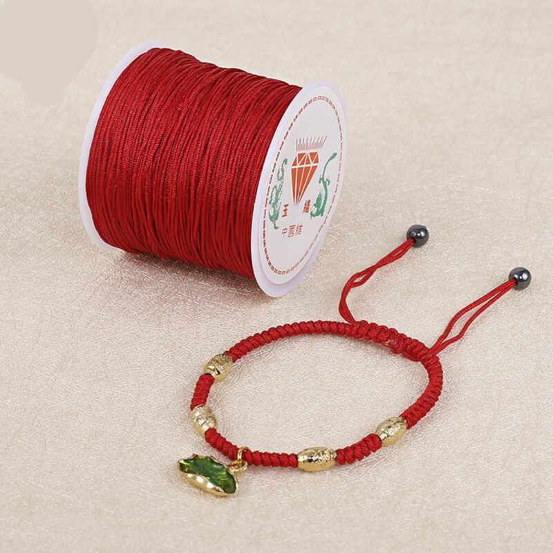 0.8mm Nylon Cord Thread Chinese Knot Macrame Rattail Bracelet Braided String 45M 5