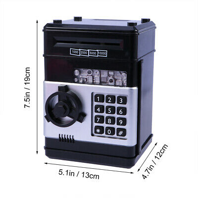 Electronic Piggy Bank ATM Password Money Box Cash Coins Saving Automatic Deposit 4