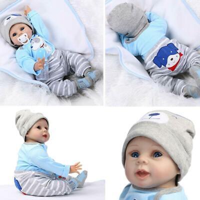 "22"" Newborn Reborn Lifelike Baby Silicone Vinyl Baby Boy Doll Blue Eyes New Gift 2"