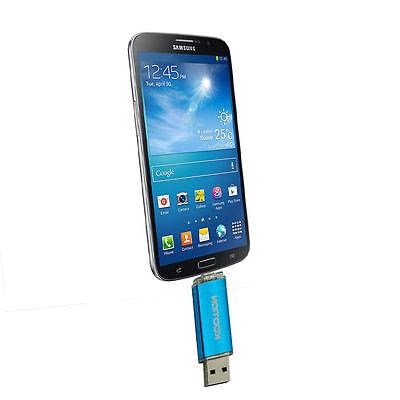 Blue OTG 32GB USB Flash Drives Micro-USB Dual Port for Smart Phone Tablet PC
