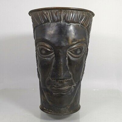 Antique Greek Roman Head Carved Bronze Mug Goblet Cup Jug Pitcher Unique #469 2
