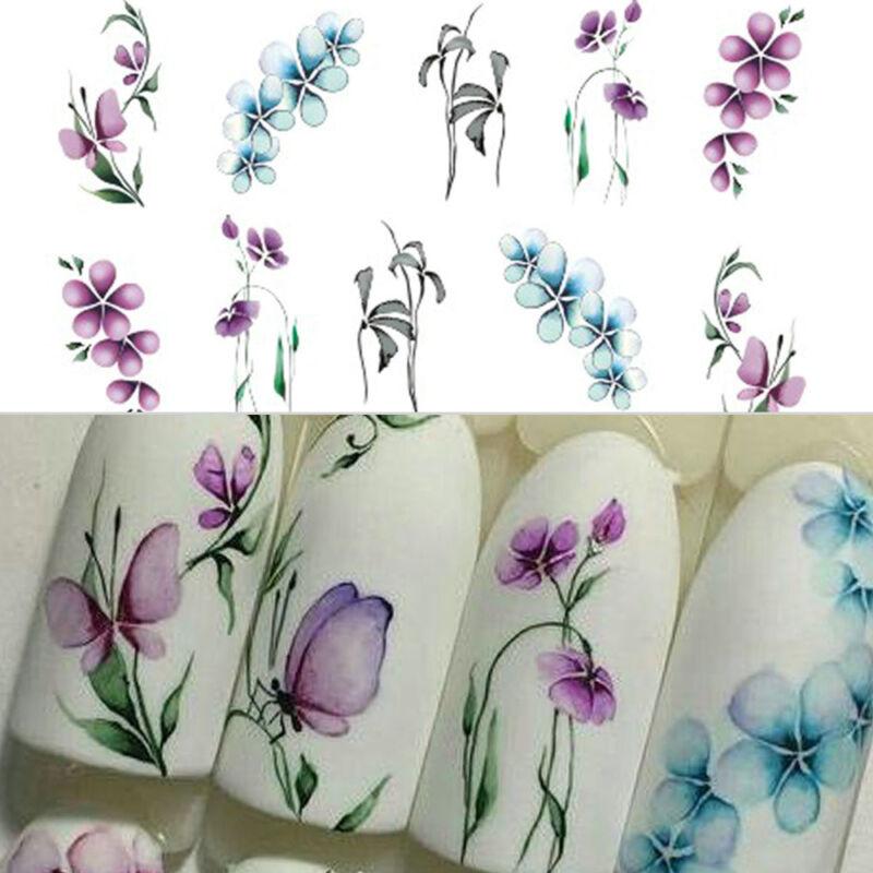 Nail Art Sticker Flowers Butterfly Design Water Transfer Nail Art Decals Decor 5