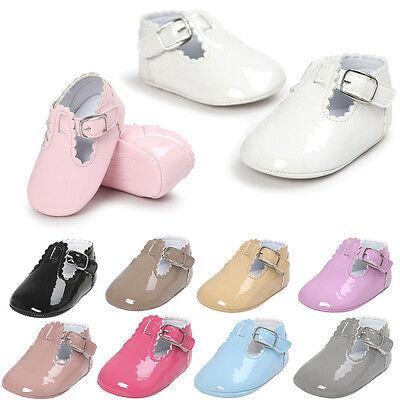 Bebé PU piel Zapatos primeros pasos de gateo Pantuflas Zapatillas cuero MODE 5