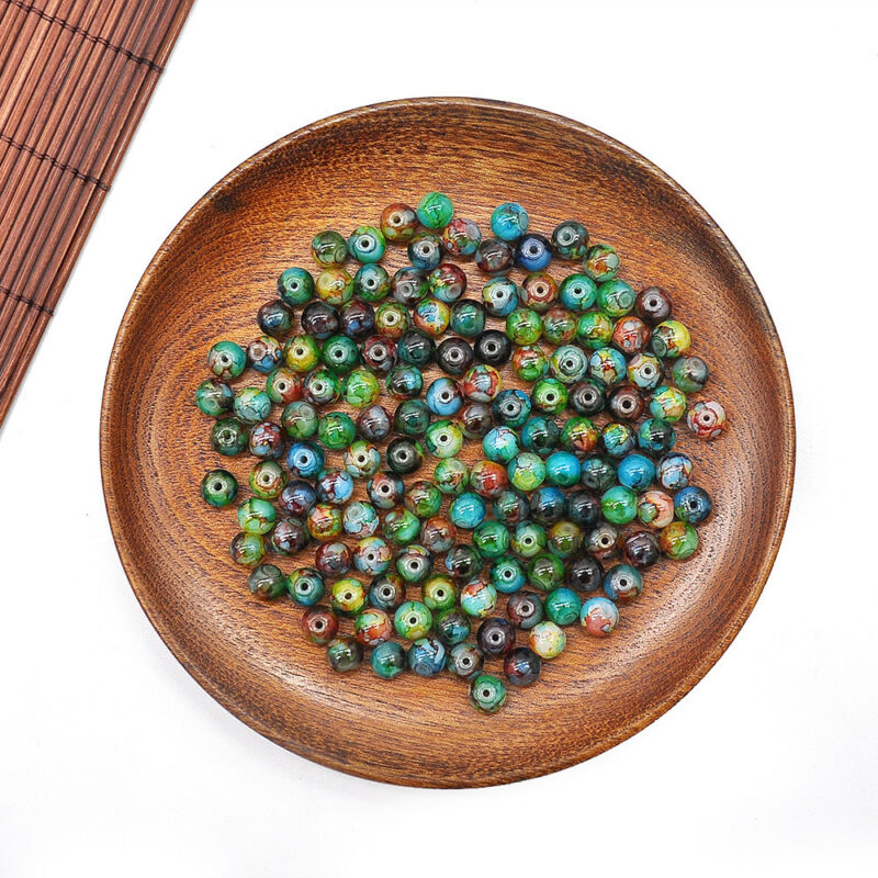 30Pcs 8mm Double Color Glass Pearl Round Spacer Loose Beads For Jewelry Making 7