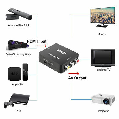 HDMI To AV Adapter Converter Cable CVBS 3RCA 1080P Composite Video Audio For TV 2